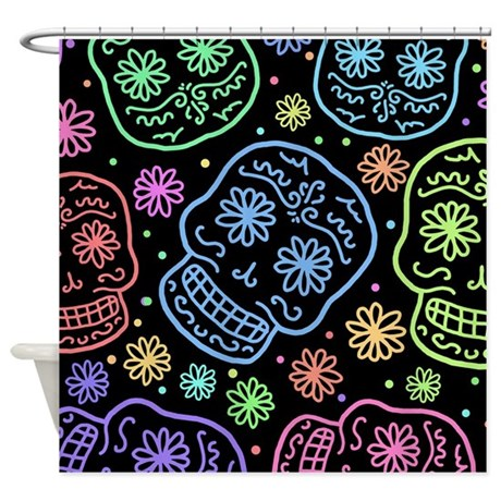 Day Of The Dead Pattern Shower Curtain By Unfortunateoccasions