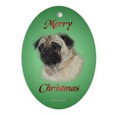 Pug Christmas Oval Ornament