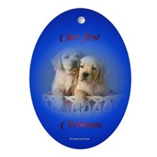 Golden Puppies First Christmas Oval Ornament