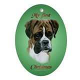 Boxer Pup 1st Christmas Oval Ornament