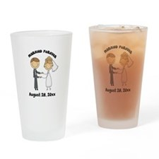 Personalized Bride and Groom Drinking Glass