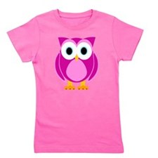 Cute Pink Cartoon Owl Girl's Tee