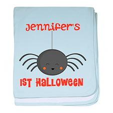 Personalized 1st Halloween Spider baby blanket