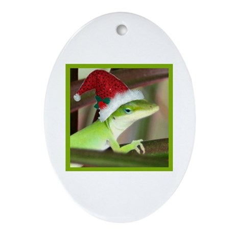 Santa Hat Gecko Christmas Oval Ornament