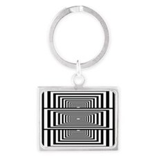 Optical Illusion Rectangles Landscape Keychain
