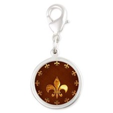 Old Leather with gold Fleur-de-Lys Silver Round Ch