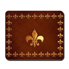 Old Leather with gold Fleur-de-Lys Mousepad