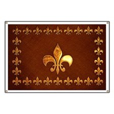 Old Leather with gold Fleur-de-Lys Banner