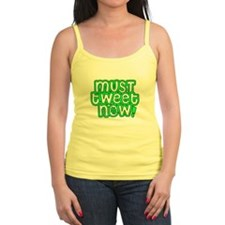 MUST tweet NOW green black outline Tank Top