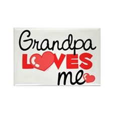 Grandpa Love Me (red) Rectangle Magnet