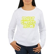 MUST tweet NOW yellow white outline Long Sleeve T-