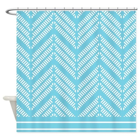 Lacy Striped Turquoise And White Shower Curtain By Mainstreethomewares