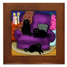catsflowercandles copy                 Framed Tile