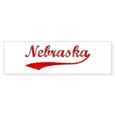 Red Vintage: Nebraska Bumper Bumper Sticker
