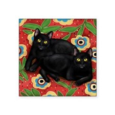 "2catsbed copy               Square Sticker 3"" x 3"""