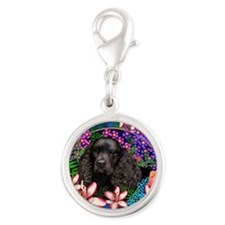 waterspaniel2 copy Silver Round Charm