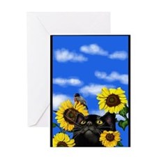 blackcatsunfl copy Greeting Card