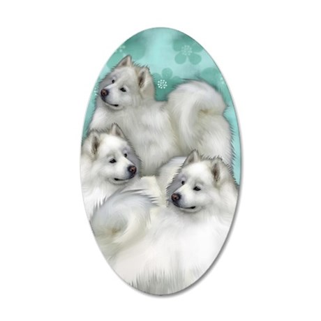 samoyed3PR 35x21 Oval Wall Decal