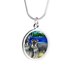 schnauzerbeachdogs copy Silver Round Necklace