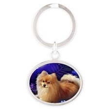 pomeranianmoon copy Oval Keychain