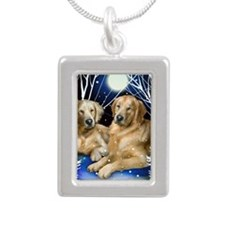 goldenretrievers snown c Silver Portrait Necklace