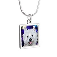 westie moon copy Silver Square Necklace