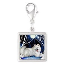eskie snown copy Silver Square Charm