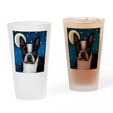 boston terrier moon Drinking Glass