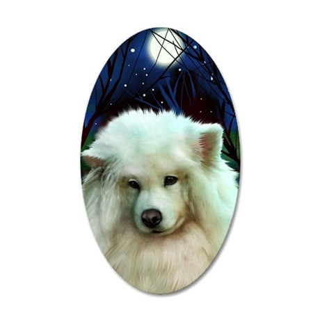 Samoyed print 2 35x21 Oval Wall Decal