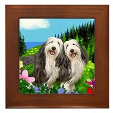 bearded collie moon Framed Tile