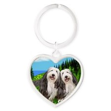bearded collie moon Heart Keychain