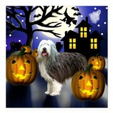 "bearded colliehalloween  Square Car Magnet 3"" x 3"""