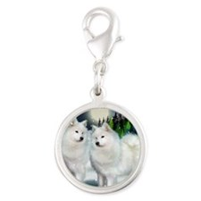 samoyed mountinedogs copy Silver Round Charm