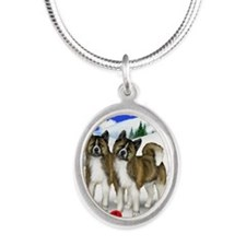 wb akita Silver Oval Necklace