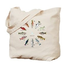 North American Salmon and Trouts Clocks Tote Bag