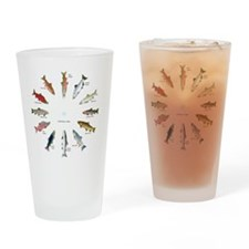 North American Salmon and Trouts Cl Drinking Glass