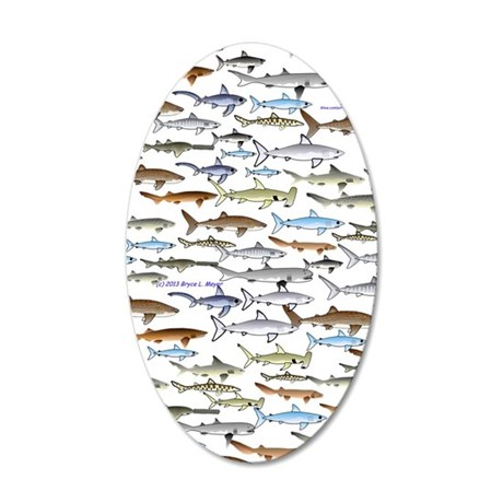 school of sharks 2V3 35x21 Oval Wall Decal