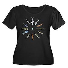Shark Cl Women's Plus Size Dark Scoop Neck T-Shirt
