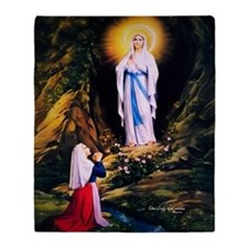 Our Lady of Lourdes 1858 Throw Blanket