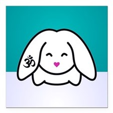 "Om Bunny Teal Square Car Magnet 3"" x 3"""