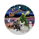 Xmas Magic & 2 Frenchies Ornament (Round)