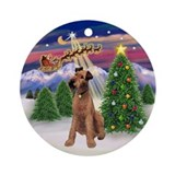Santa's Take Off &amp; Irish Terrier Ornament (Round)