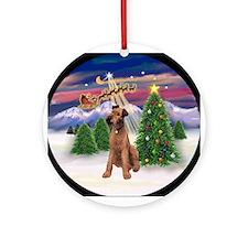 Santa's Take Off & Irish Terrier Ornament (Round)