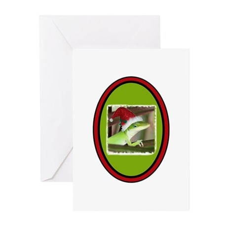 Santa HatGreen Gecko Greeting Cards (Pk of 10)