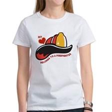 Heart Belongs Firefighter Tee