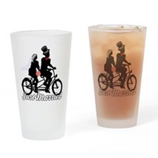 Just Married Cyclists Drinking Glass