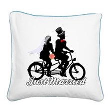 Just Married Cyclists Square Canvas Pillow