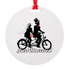 Just Married Cyclists Ornament