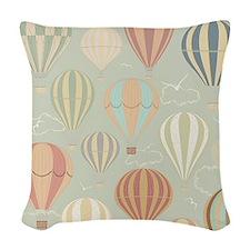Vintage Hot Air Balloons Woven Throw Pillow