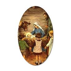 Vintage Christmas Nativity 35x21 Oval Wall Decal